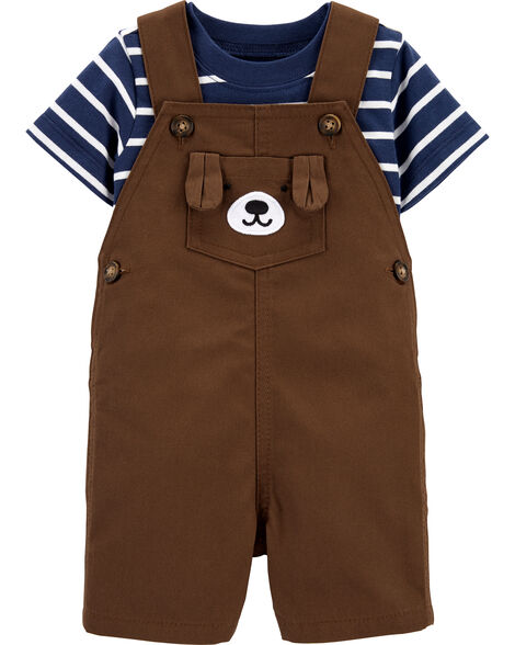 2-Piece Striped Tee & Bear Shortalls Set