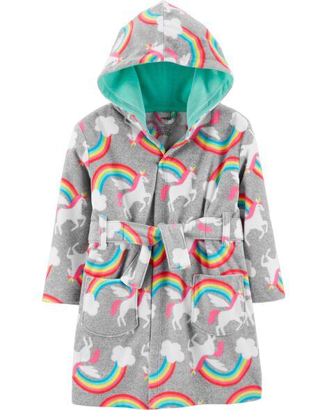 Rainbow Unicorns Hooded Fleece Robe