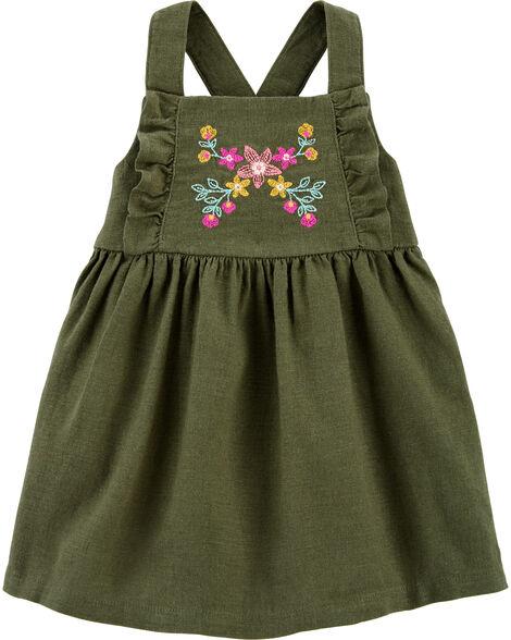 Embroidered Floral Linen Dress
