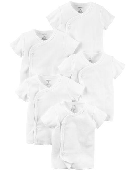Emballage de 5 t-shirts à manches courtes et boutons-pression en biais