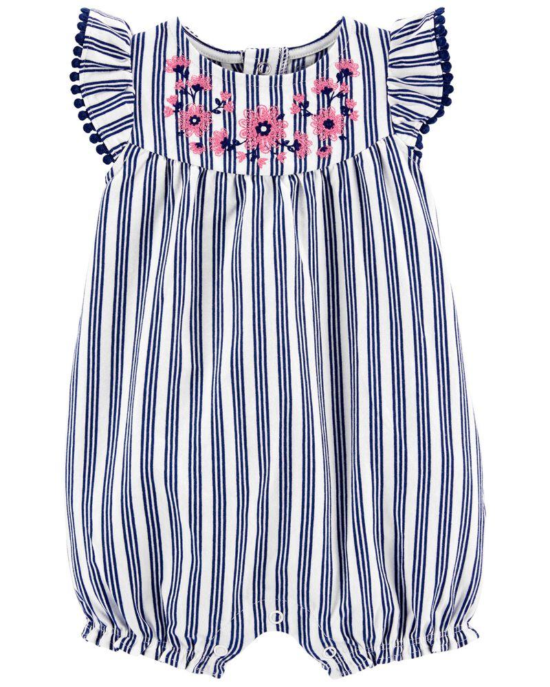 Floral Striped Romper, , hi-res