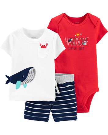 3-Piece Whale Little Short Set