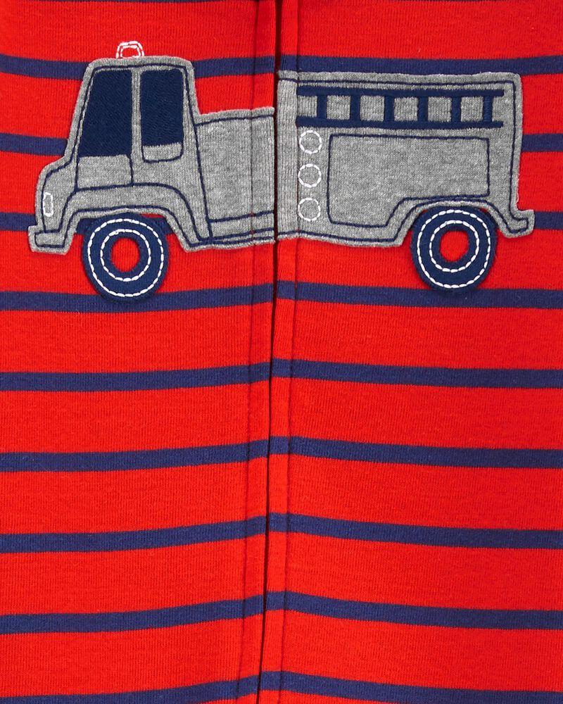 Pyjama 1 pièce à pieds ajusté à camion d'incendie, , hi-res