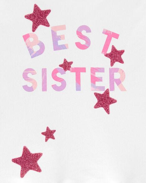 Glitter Best Sister Peplum Top