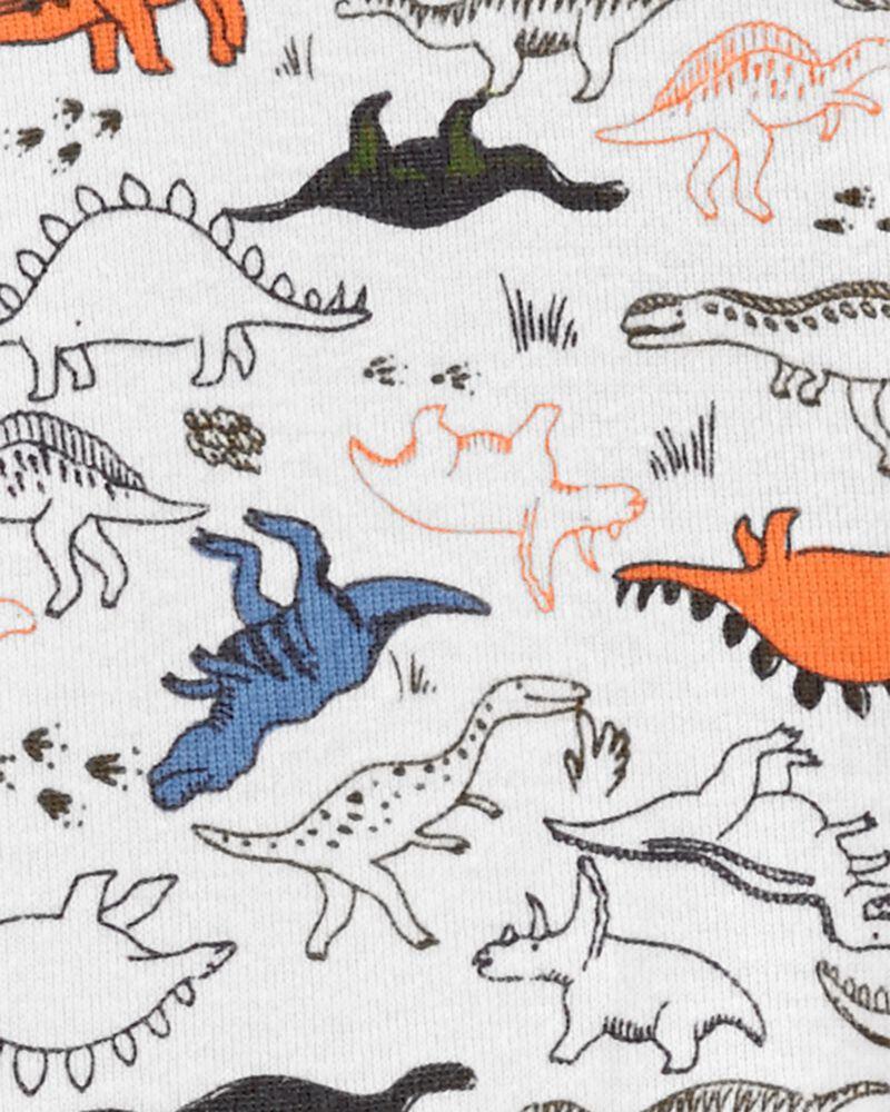Grenouillère en coton pour dormir et jouer avec glissière 2 sens et motif dinosaure, , hi-res