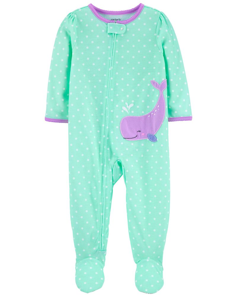 1-Piece Whale Loose Fit Footie PJs, , hi-res