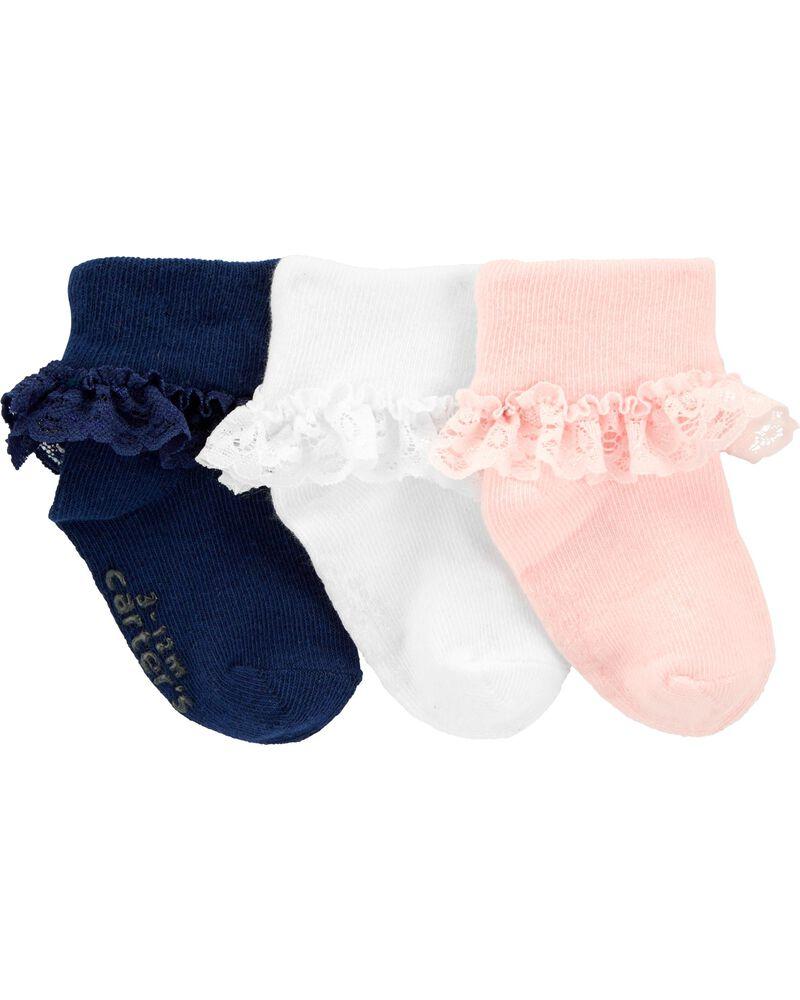 3-Pack Lace Cuff Socks, , hi-res