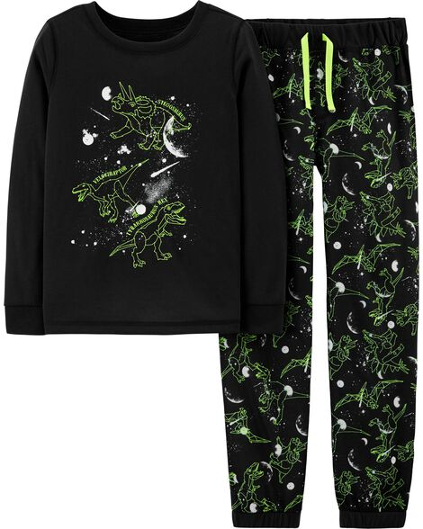 Pyjama 2 pièces dinosaure qui brille dans le noir