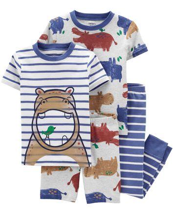 Pyjama 4 pièces en coton ajusté à h...