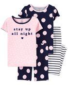 Pyjama 4 pièces en coton ajusté à pois, , hi-res