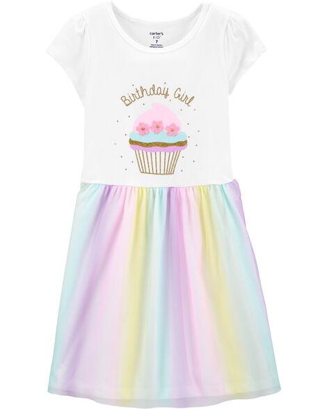 Glitter Birthday Girl Tutu Jersey Dress