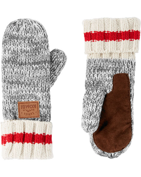 Mitaines en tricot motif camping