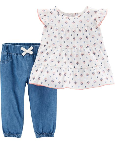 2-Piece Floral Top & Chambray Pant Set