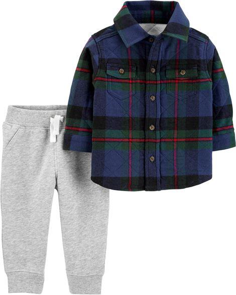 Ensemble 2 pièces haut en flanelle à motif écossais et pantalon