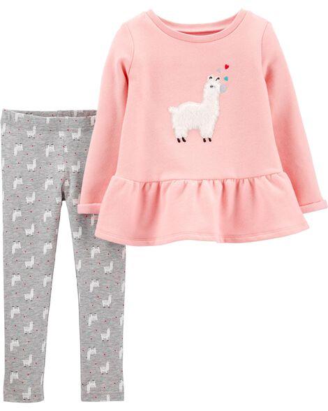 2-Piece Llama Fleece Peplum Top & Legging Set
