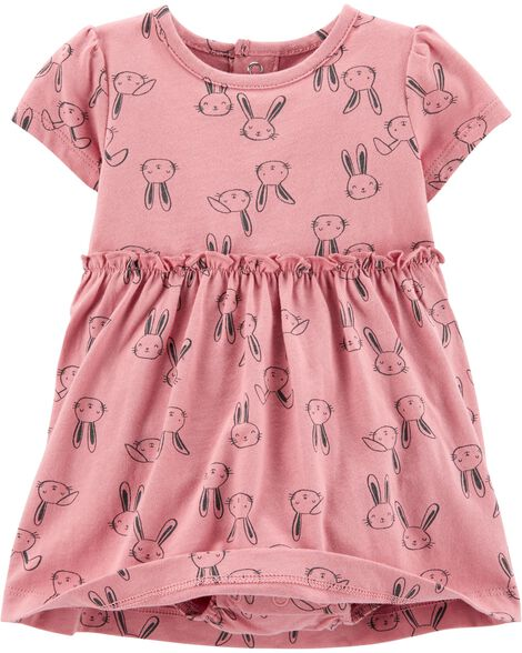 2-Piece Bunny Bodysuit Dress & Cardigan Set