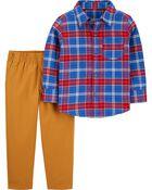 2-Piece Plaid Button-Front & Canvas Pant Set, , hi-res