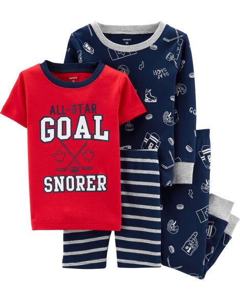 4-Piece Hockey Snug Fit Cotton PJs