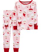 2-Piece Santa Snug Fit Cotton PJs, , hi-res