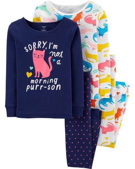 Pyjamas 4 pièces en coton ajusté à chat