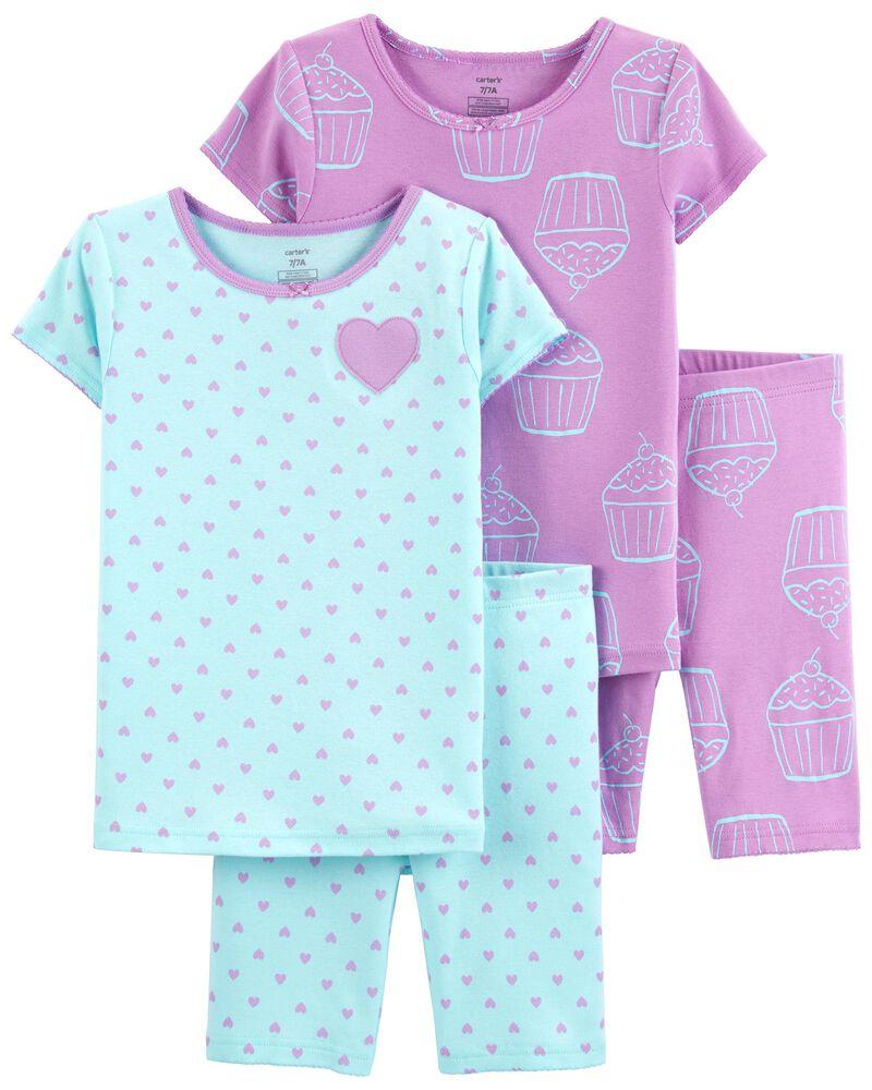 Pyjama 4 pièces en coton ajusté à petit gâteau, , hi-res