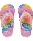 Sandales de plage à motif teint en fil arc-en-ciel, , hi-res