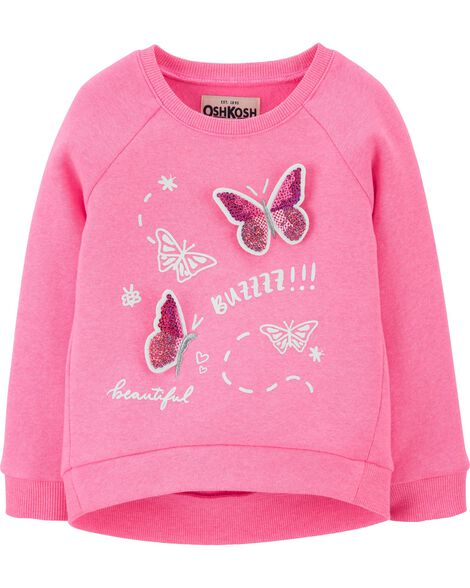 Sequin Butterfly Fleece Pullover