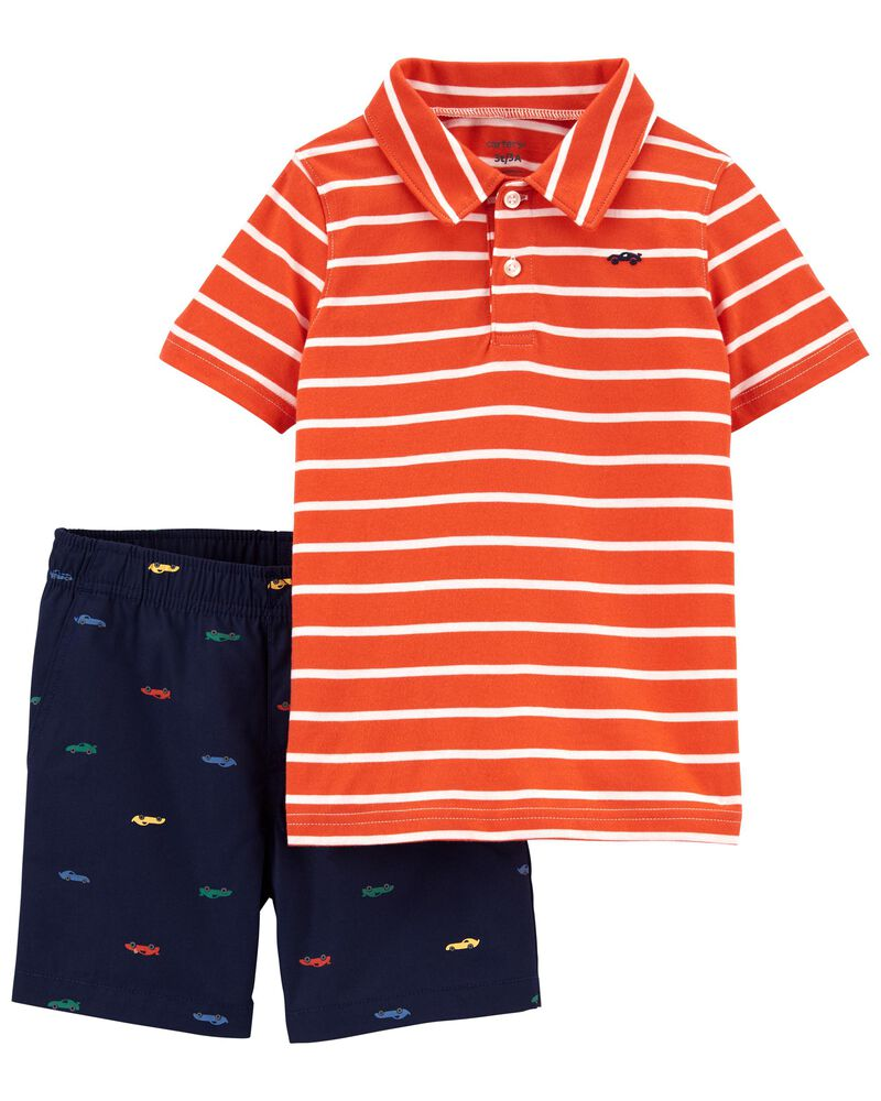 2-Piece Jersey Polo & Short Set, , hi-res