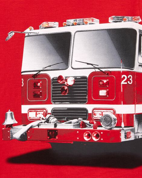 T-shirt à imprimé de camion d'incendie