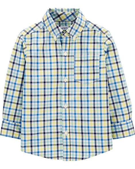 Plaid Button-Front Poplin Shirt