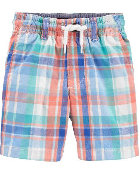 Plaid Pull-On Shorts