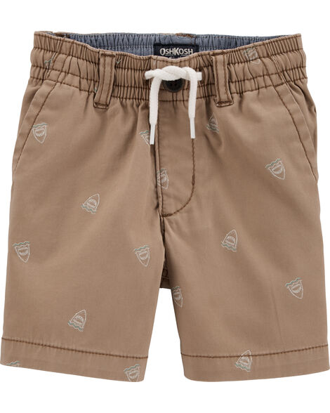 Shark Print Pull-On Shorts
