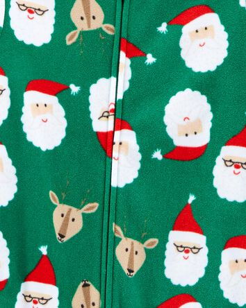 1-Piece Santa Fleece Footie PJs