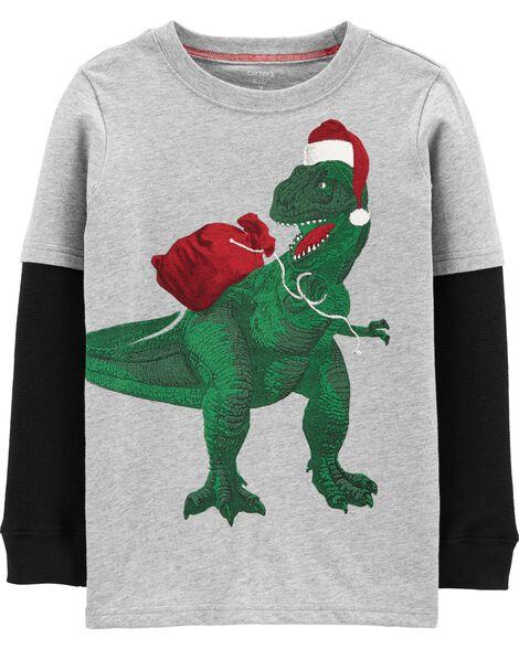 T-shirt en jersey de style superposé à dinosaure Père Noël