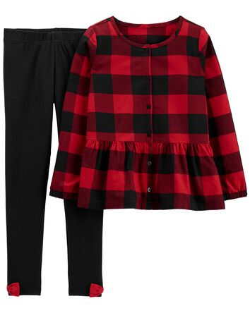 2-Piece Buffalo Check Top & Legging...