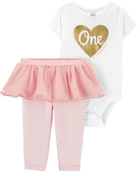2-Piece 1st Birthday Bodysuit & Tutu Pant Set