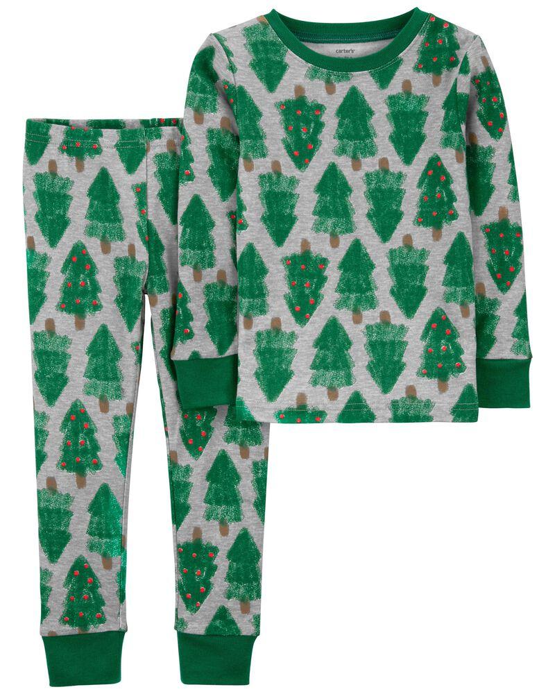 Pyjama 2 pièces en coton ajusté motif des Fêtes, , hi-res