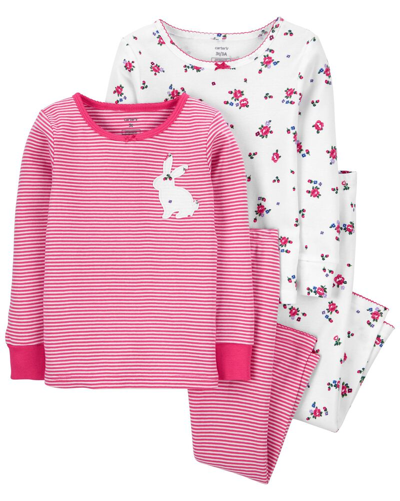 4-Piece Bunny 100% Snug Fit Cotton PJs, , hi-res