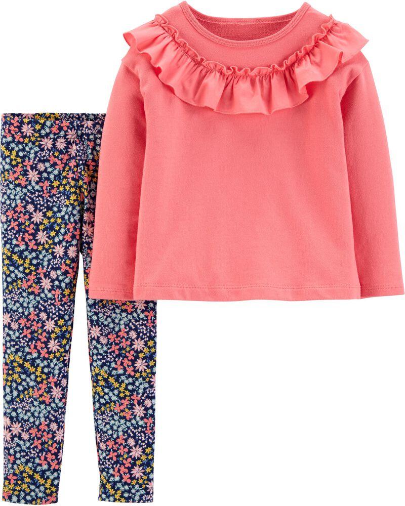 2-Piece Ruffle Top & Floral Legging Set, , hi-res
