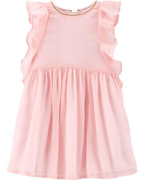 Ruffle-Front Chiffon Dress
