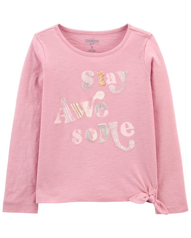 Tie-Hem Stay Awesome Top, , hi-res