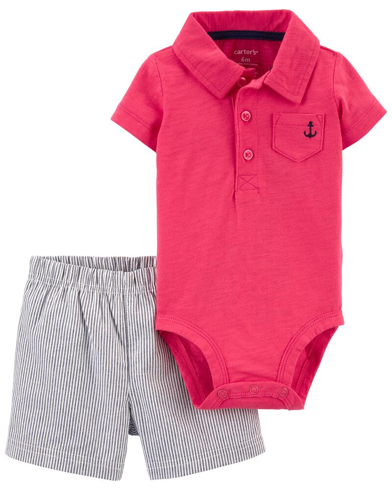 2-Piece Polo Bodysuit & Short Set, , hi-res