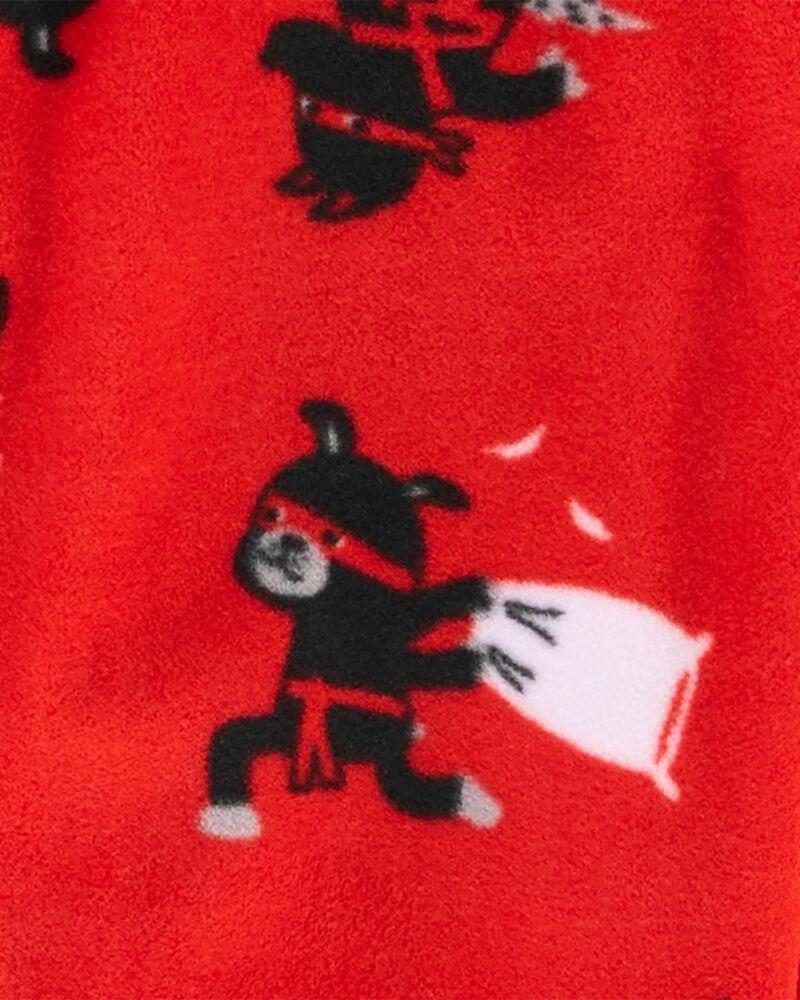 Pyjama 1 pièce en molleton à pieds avec Ninja, , hi-res