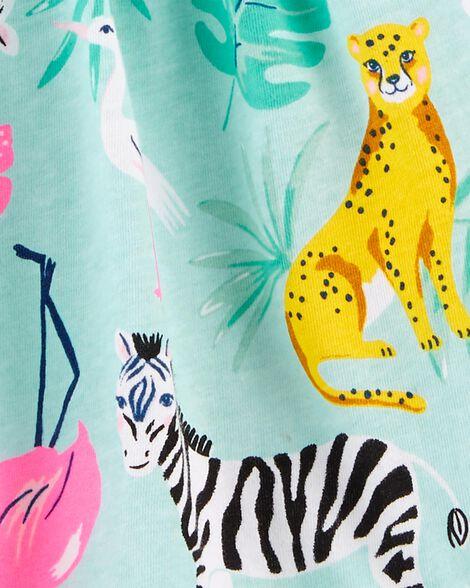 Emballage de 2 robes en jersey à rayures et imprimé d'animaux