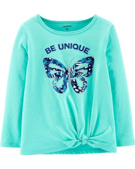 T-shirt en jersey à nœud devant et papillon Be Unique