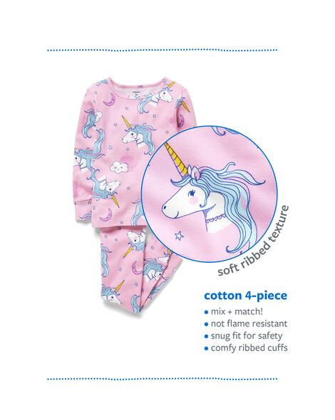 4-Piece Bunny Snug Fit Cotton PJs