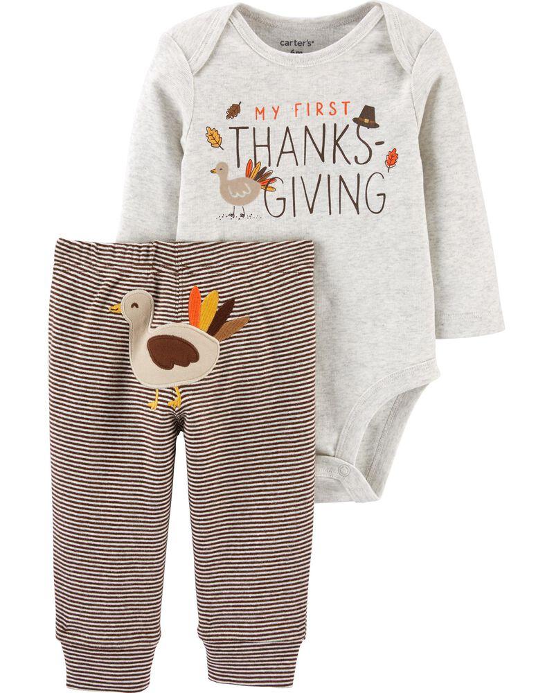 2-Piece Thanksgiving Bodysuit Pant Set, , hi-res