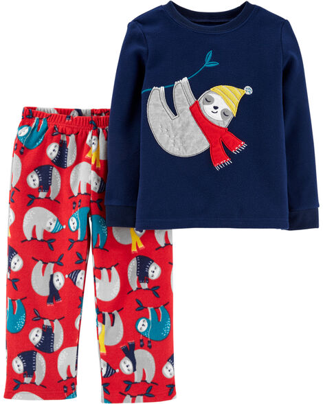 2-Piece Winter Sloth Fleece PJs