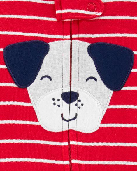 Pyjama 1 pièce sans pieds en coton ajusté motif de chien