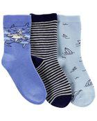 3 paires de chaussettes mi-mollet requins, , hi-res